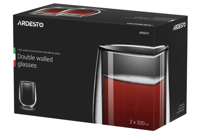 Набор чашек Ardesto с двойными стенками AR2637G