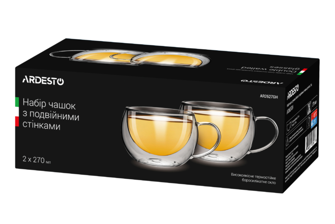 Cups set Ardesto with double walls AR2627GH