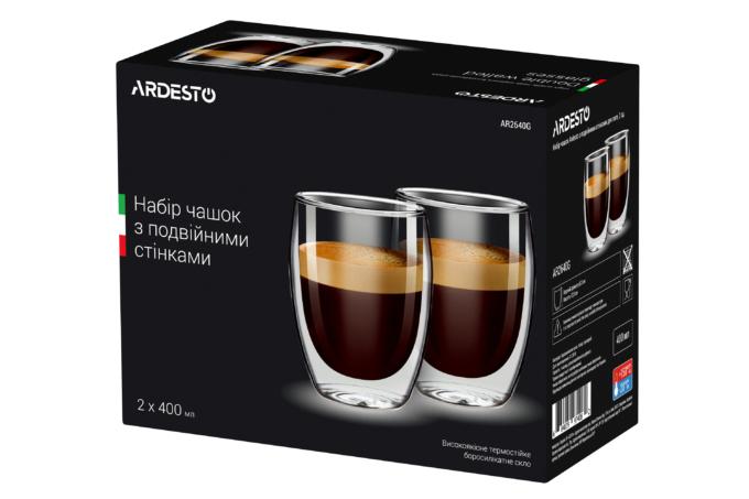 Набор чашек Ardesto с двойными стенками AR2640G